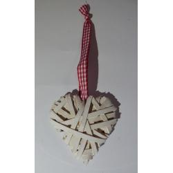 Vánoční srdíčka bílá s červenou stužkou