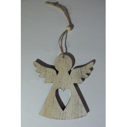 Závěsný dřevěný andílek
