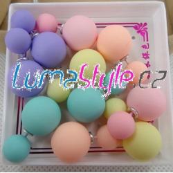 Naušnice - dvojité kuličky v patelových barvách