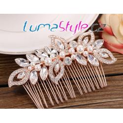 Elegantní hřebínek do vlasů rosegold - motýl