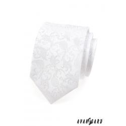 Luxusní pánská kravata s květovaným vzorem - bílá + kapesníček