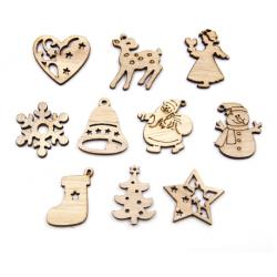 Dřevěné výřezy s vánoční tematikou 50ks